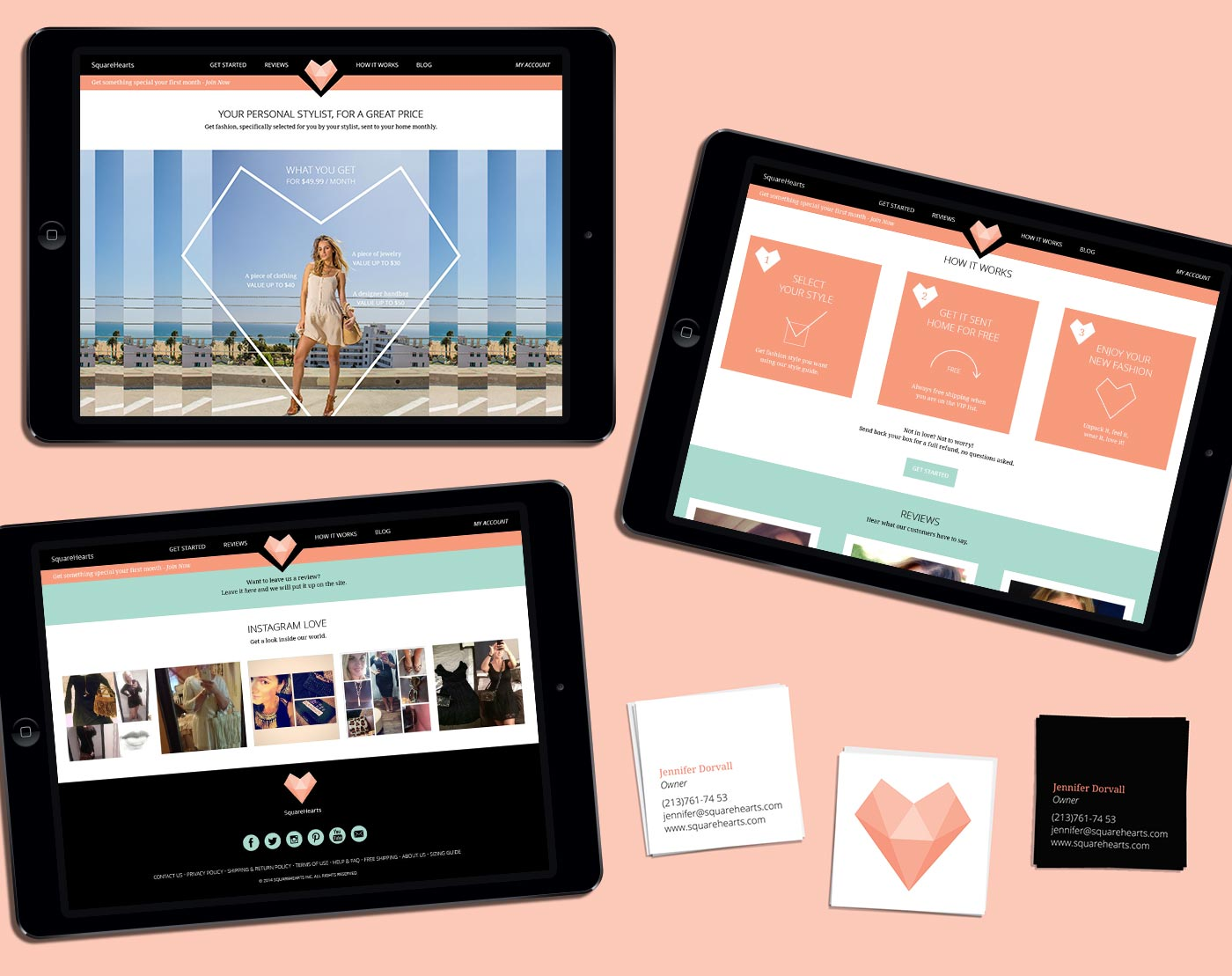 SquareHearts website and business cards